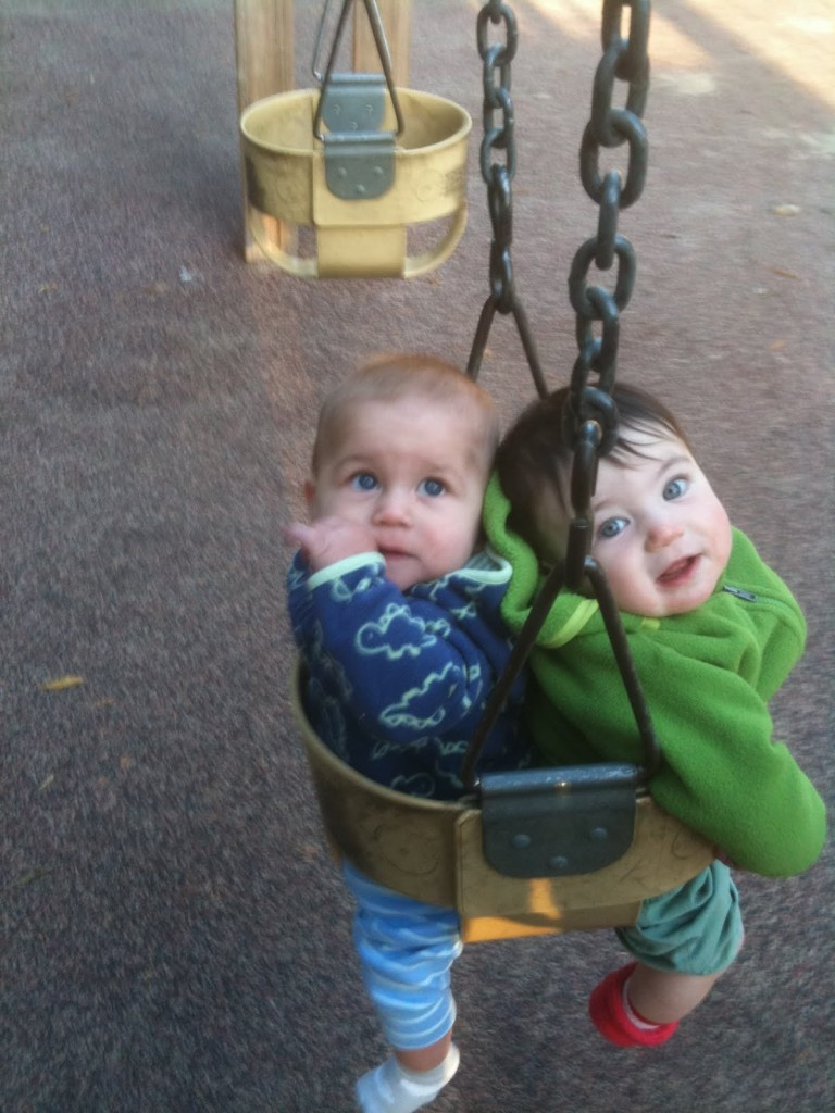 Griffin and Rosie sharing a swing.