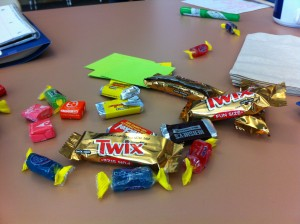 Candy was the treat of choice for our professional development on Thursday and Friday.