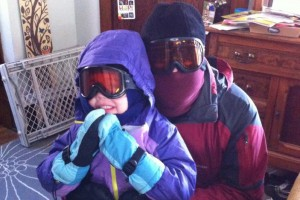 Griffin and Daddy, ready for the wrath of Boreas