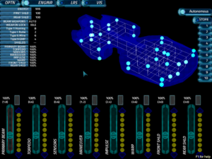 Screenshot of the engineering interface. The sliders at the bottom allow you to shunt power to and from different ship systems, which can dramatically affect game play.